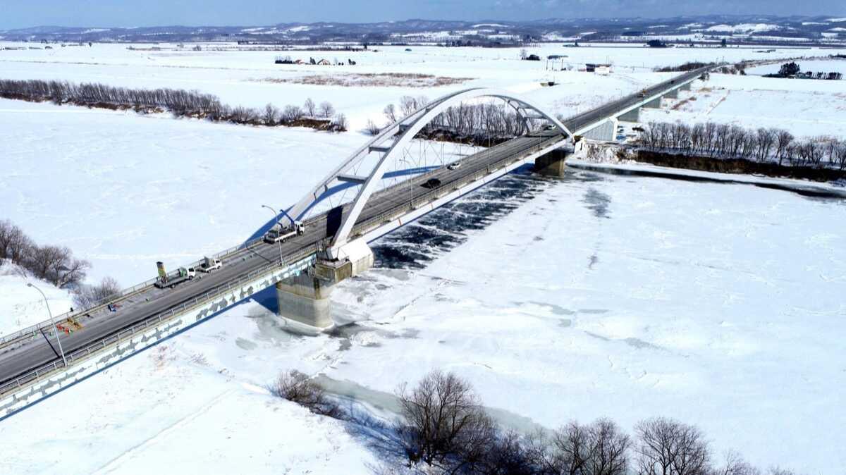 一般国道38号 豊頃町 豊頃大橋橋脚補強工事